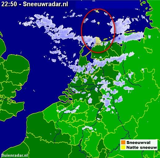Sneeuwradar met sneeuw in Noorden 09 12