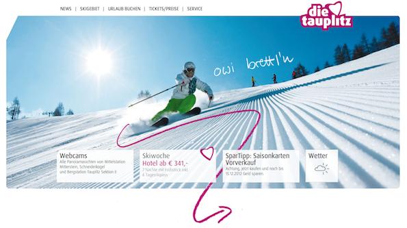 Website van skigebied Die Tauplitz